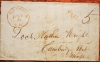 HANCOCK NEW HAMPSHIRE 1846 STAMPLESS FOLDED LETTER WITH RED POSTMARK AND PAID MARK TO CAMBRIDGEPORT MASSACHUSETTS - POSTAL HISTORY