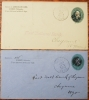 SIDNEY NEBRASKA 2 POSTAL STATIONERY COVERS WITH NICE HANDSTAMP POSTMARKS - POSTAL HISTORY