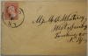 SCIO, NY, MID-1800S COVER. DESIRABLE TOWN MARK. SCOTT #25 STAMP - POSTAL-HISTORY