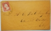 WEST WINSTED CONNECTICUT MID-1800S COVER.  SCOTT #26A. RARE DEAD POST OFFICE - POSTAL-HISTORY