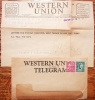 BOSTON MASSACHUSETTS -- 4 WESTERN UNION TELEGRAMS FROM OVERSEAS SOLDIER. PERFIN STAMPS + CONTENT - WORLD-WAR-II-POSTAL-HISTORY